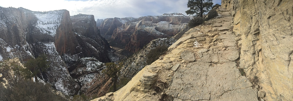 A steep portion of the Observation Point Trail in Zion National Park