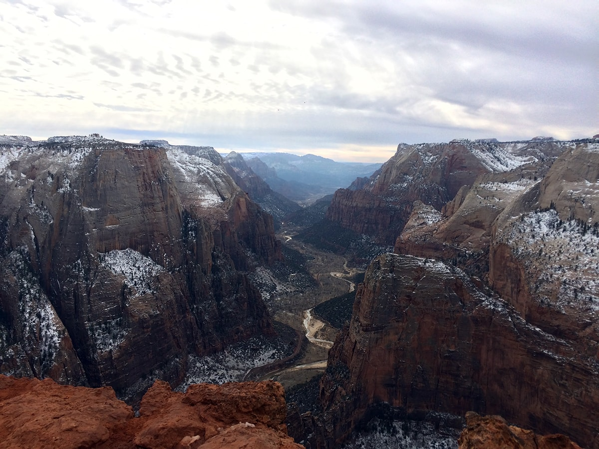Observation Point dusted in white snow Zion National Park Utah