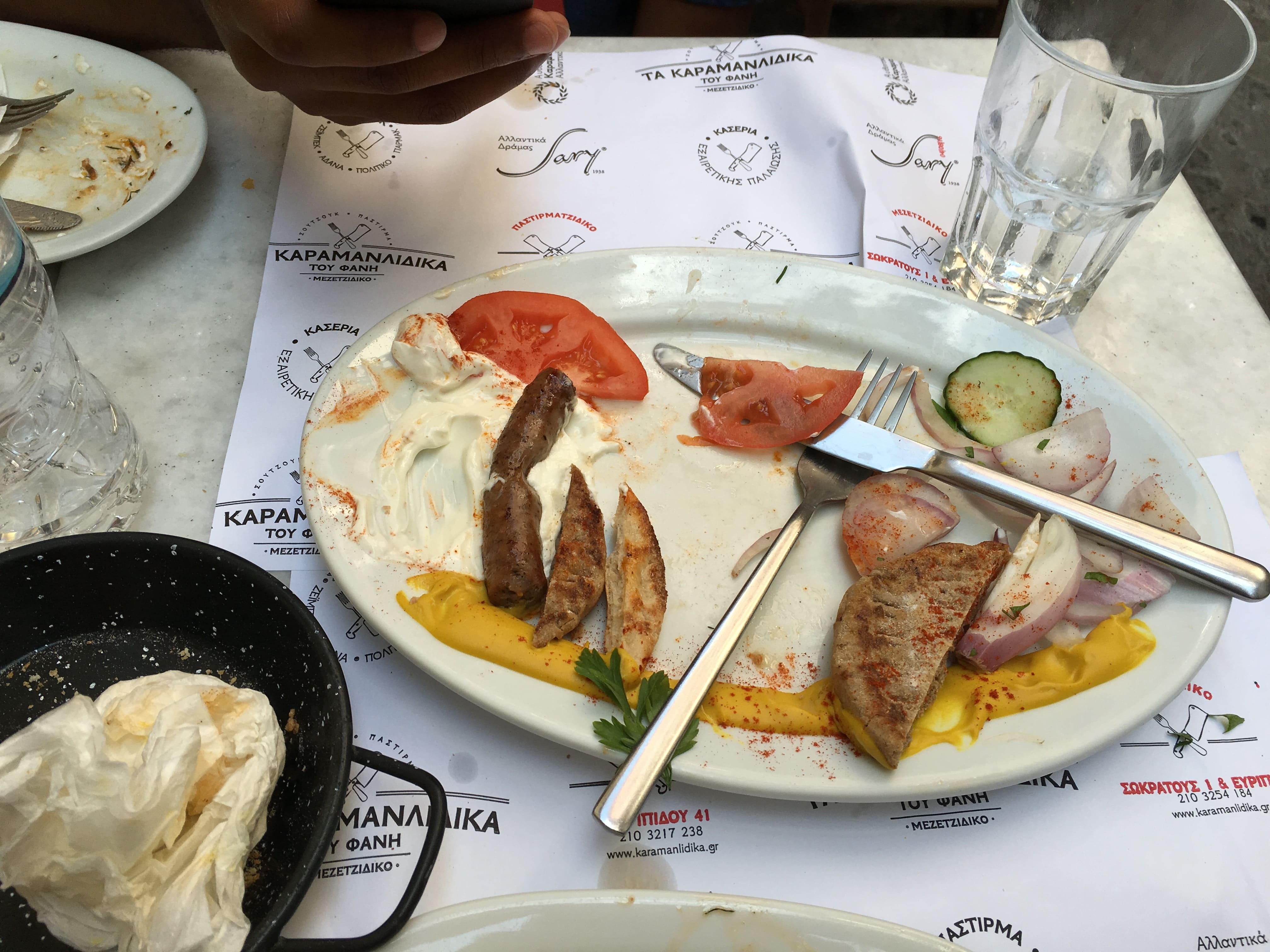 a near finished Greek meal