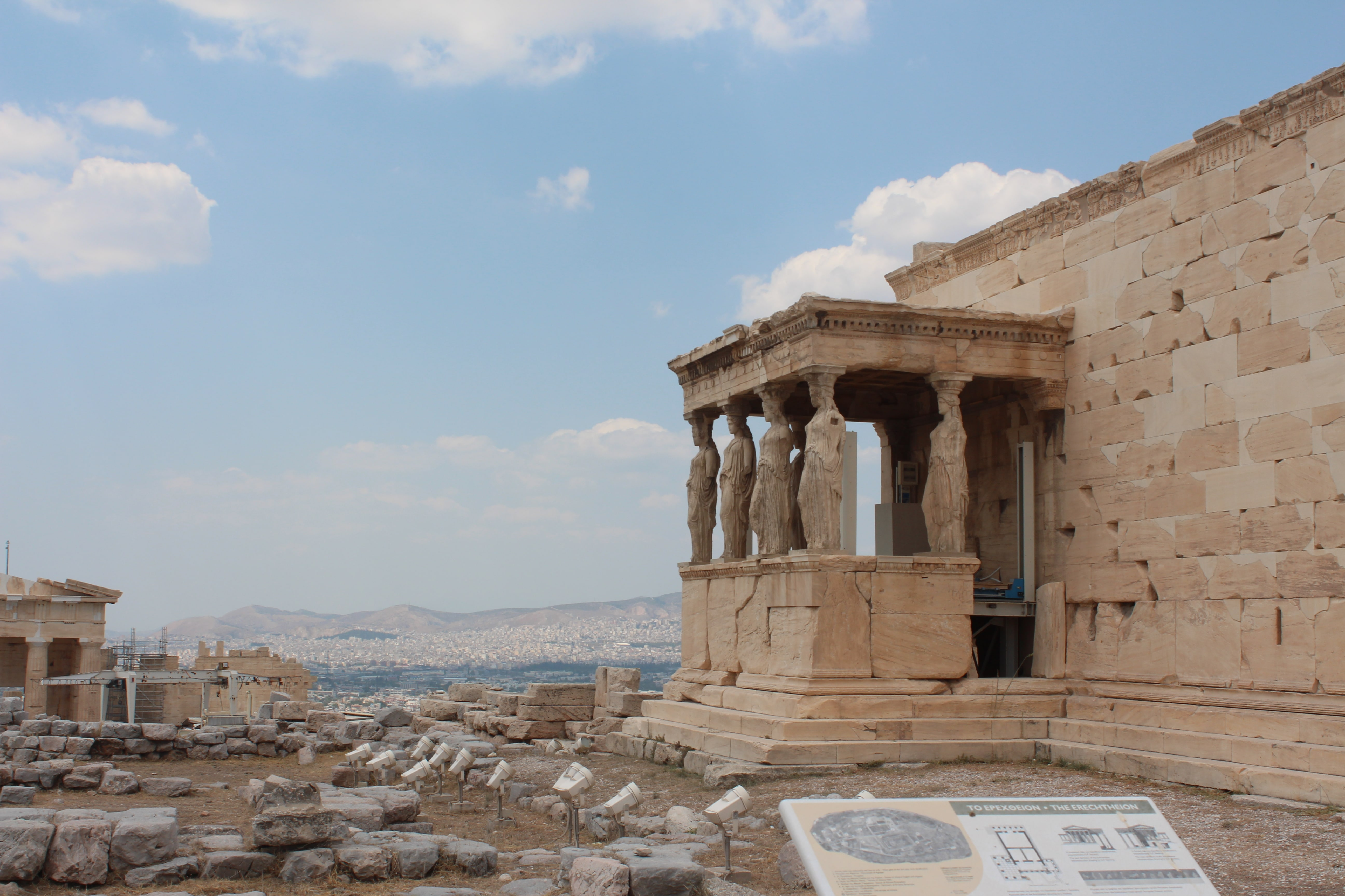 carytids at the erechtheion in the acropolis athens, greece