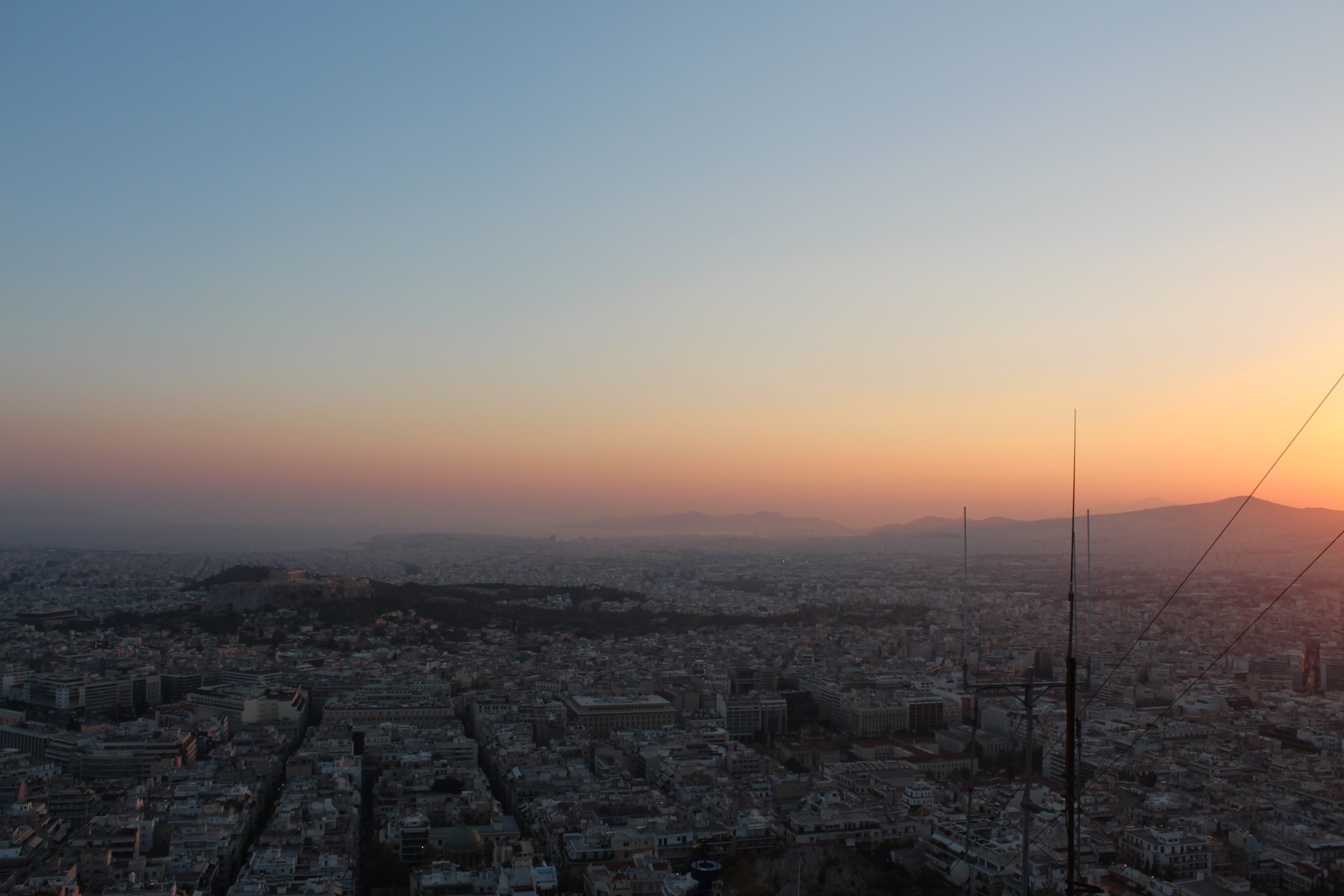 the sunset over Athens, Greece from the summit of Mt. Lycabettus
