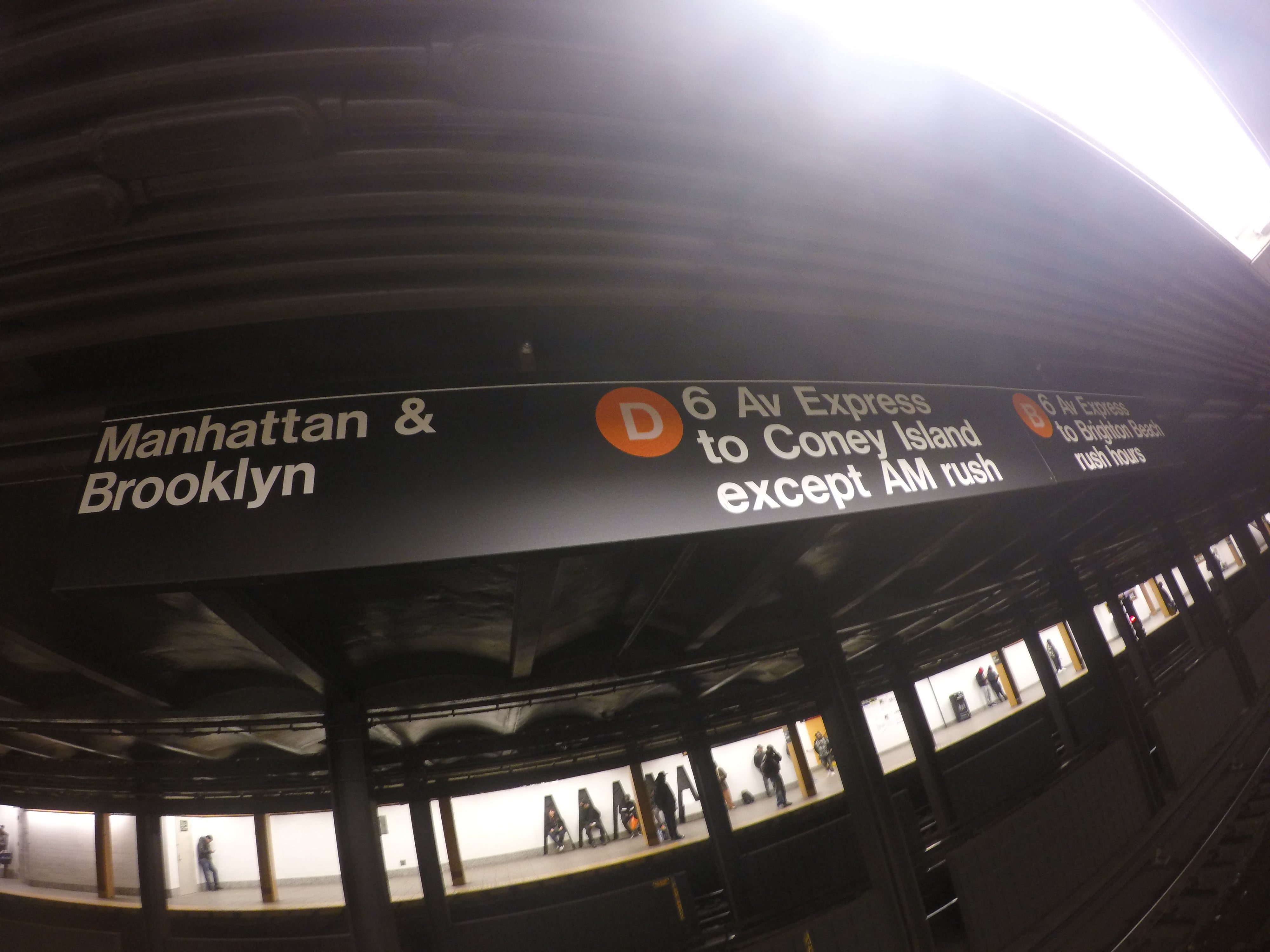 Sign for Manhattan & Brooklyn in New York subway station
