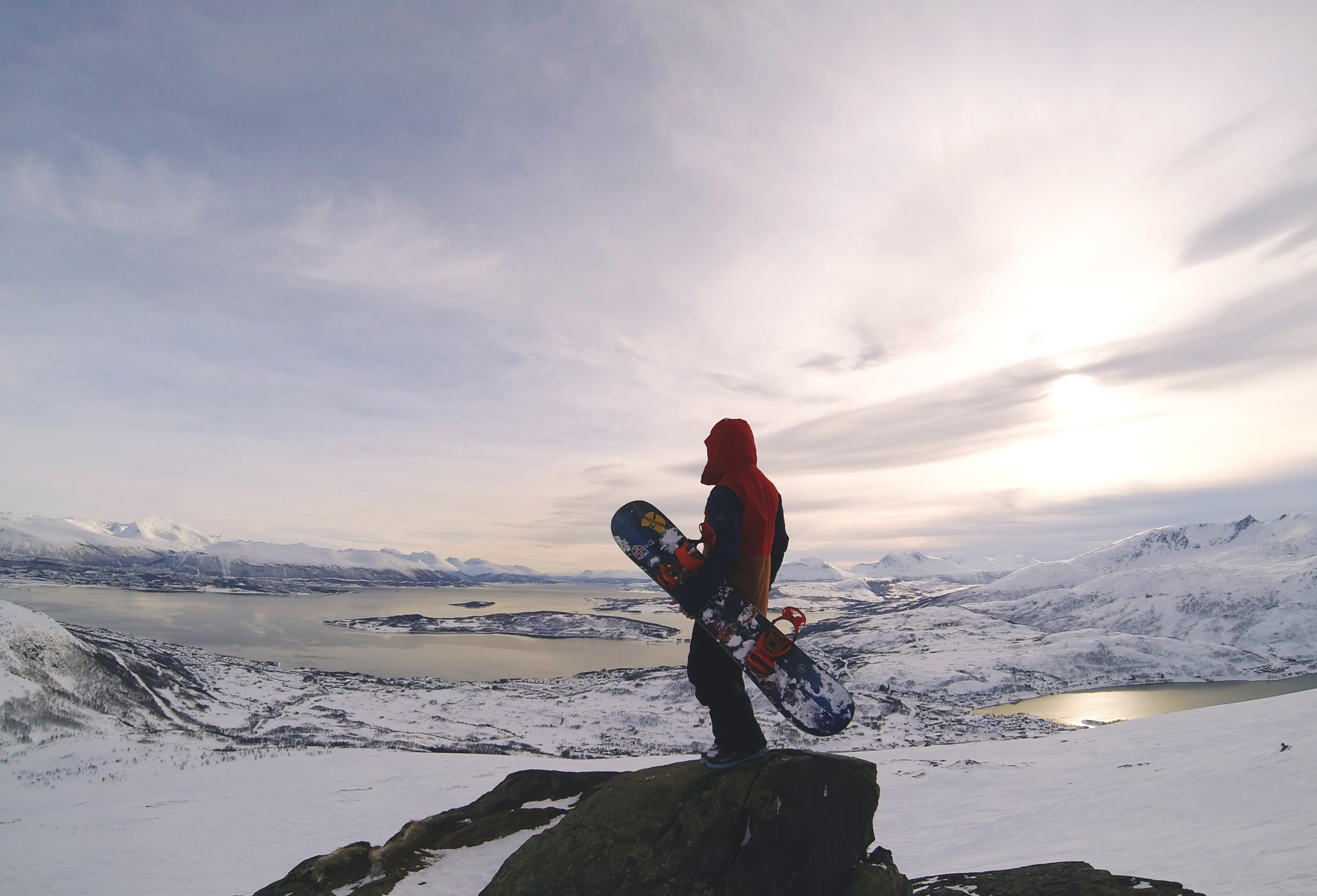overlooking the Tromsø region prior to descent.