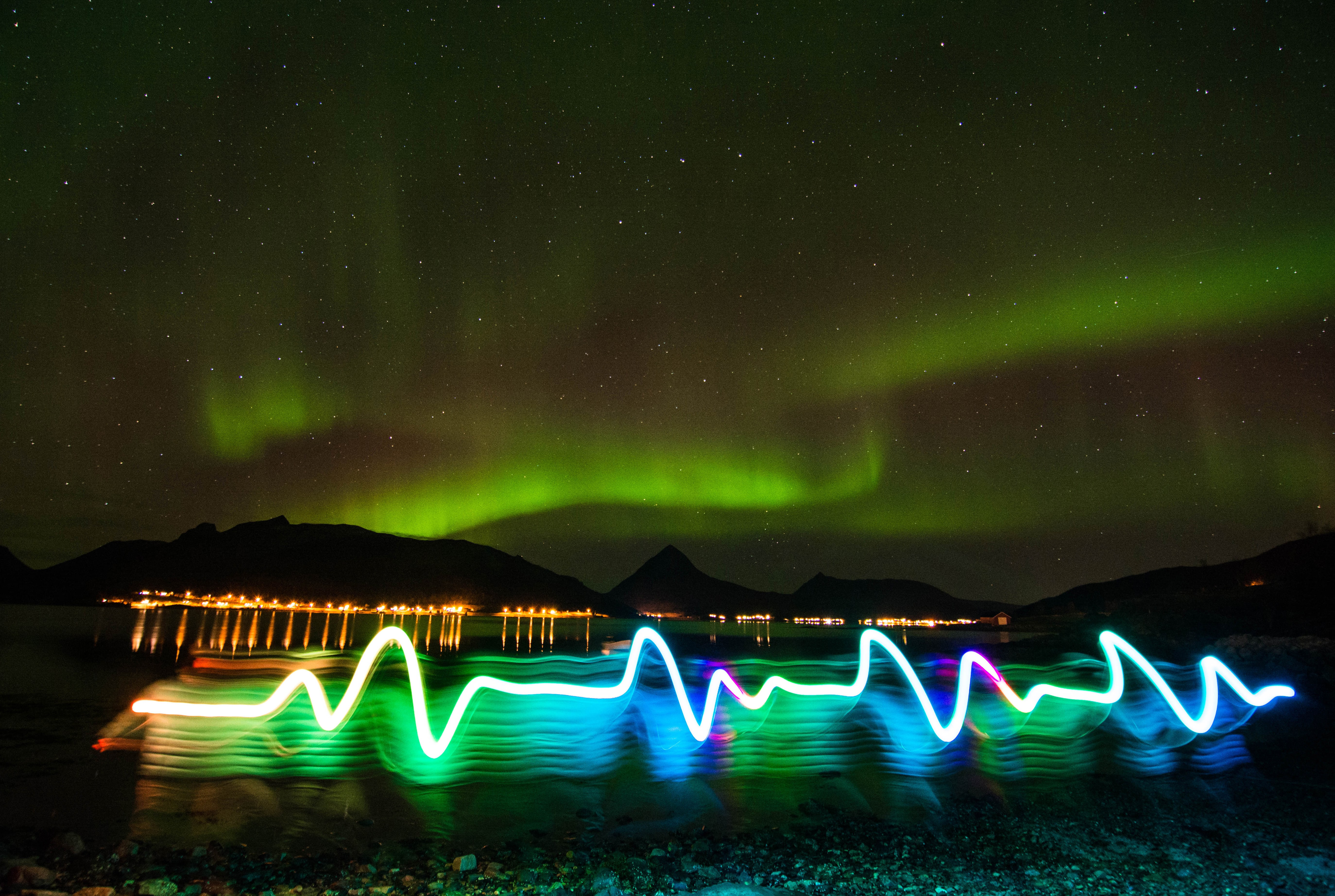 October aurora and light painting while camping in Fjordbotn, Senja.