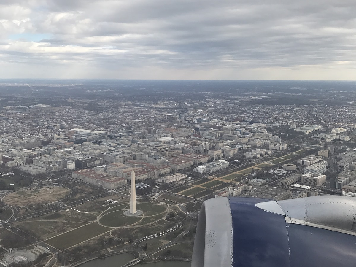 The National Mall as seen from above from an airplane window