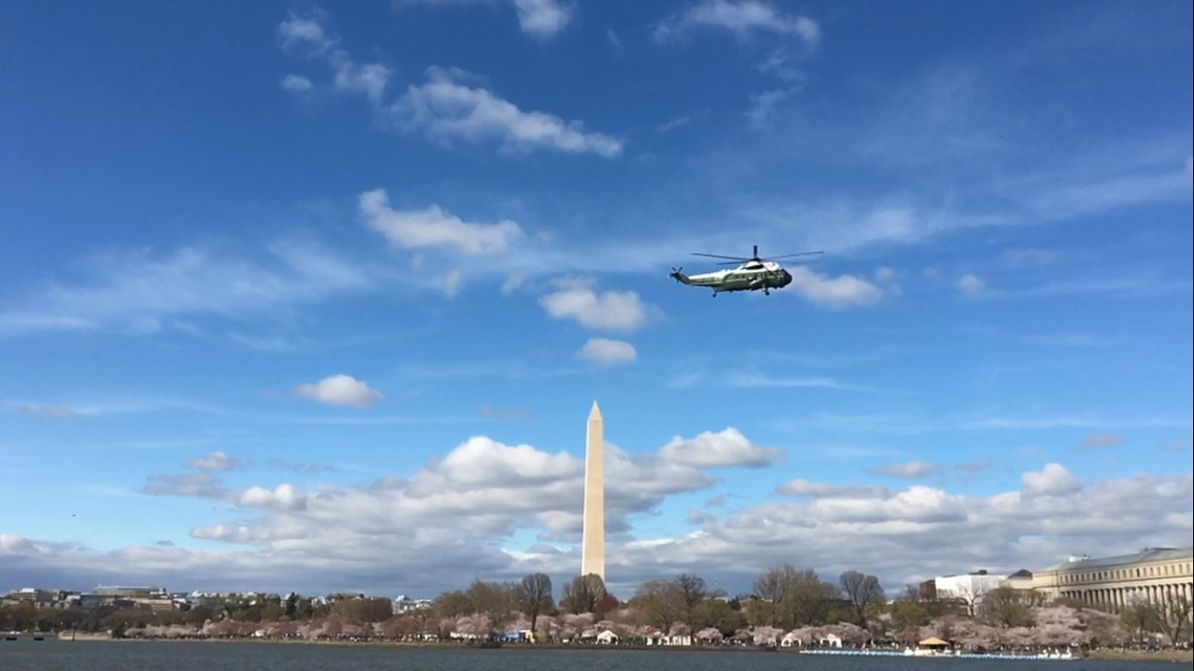Marine One as seen from above the National Mall
